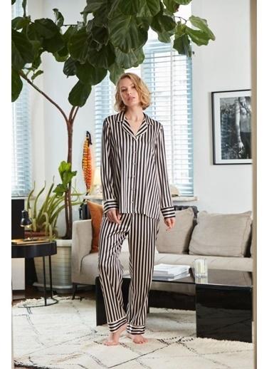 Catherines 2017 Saten Pijama Takım Siyah